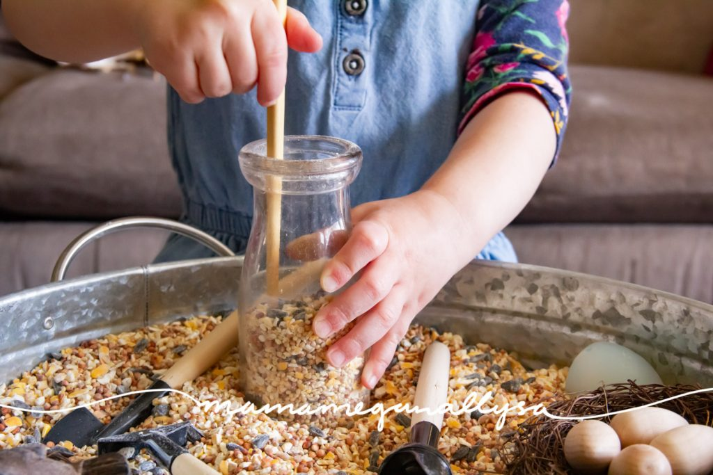 Lately all our sensory play has been cooking and we always need a stir stick.