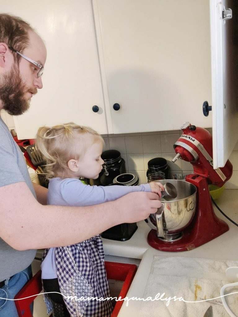 Cooking is always a great toddler activity. Just allow for extra time and extra mess but worth it in the end!