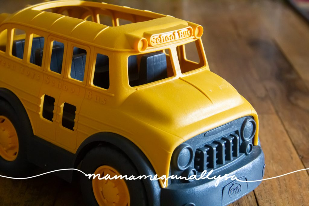 I choose the school bus to add to the yellow theme and I also love to have at least one kind of vehicle on the shelves every week.