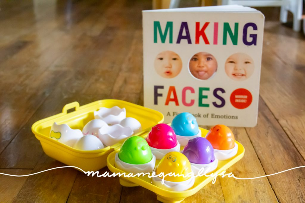 the hide and squeak eggs are too young for my 2.5 year old but I thought they fit the theme so well that I had to include them. I added the making faces book to add a little further discussion and play with them