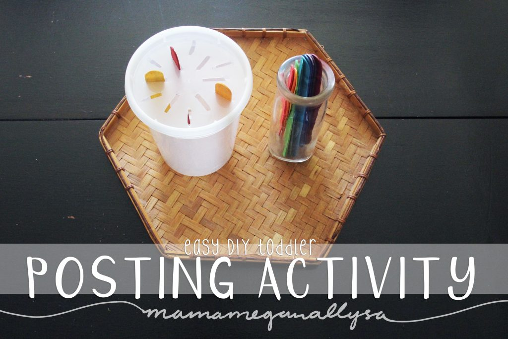 Posting work is a favorite with young toddlers and is great for fine motor development. Some popsicle sticks and a simple box or container are a great DIY set up