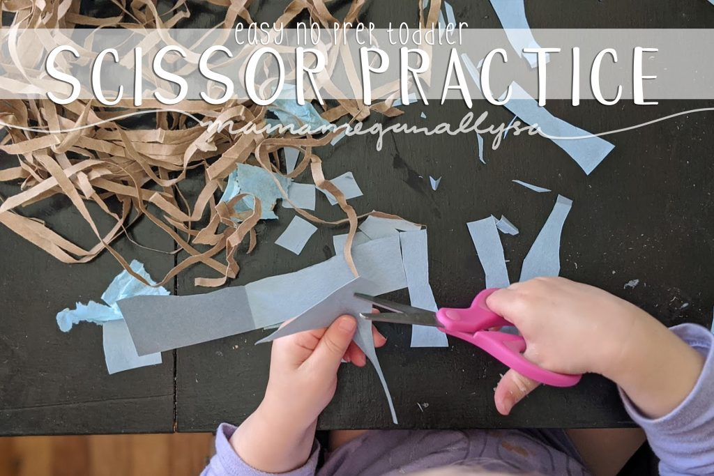 Our current favorite toddler activities include cutting and gluing with no end project in mind, just a simple exploration of the tools
