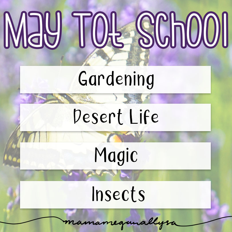 My May Tot School is created for a 2.5 year old to play and learn about gardening and insects, desert life and just a little bit of magic for fun!