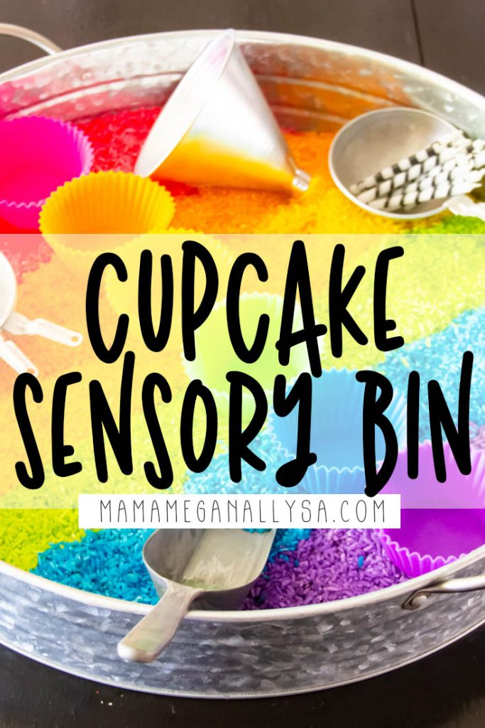 Your toddler will love baking you rainbow rice cupcakes with this super simple sensory bit set up!