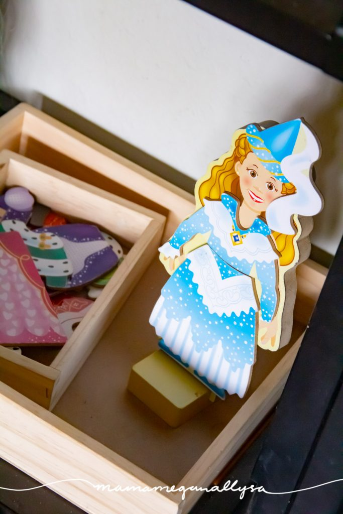 The magnetic dress up dolls are always a hit and a princess one was just too perfect for our princess toy rotation