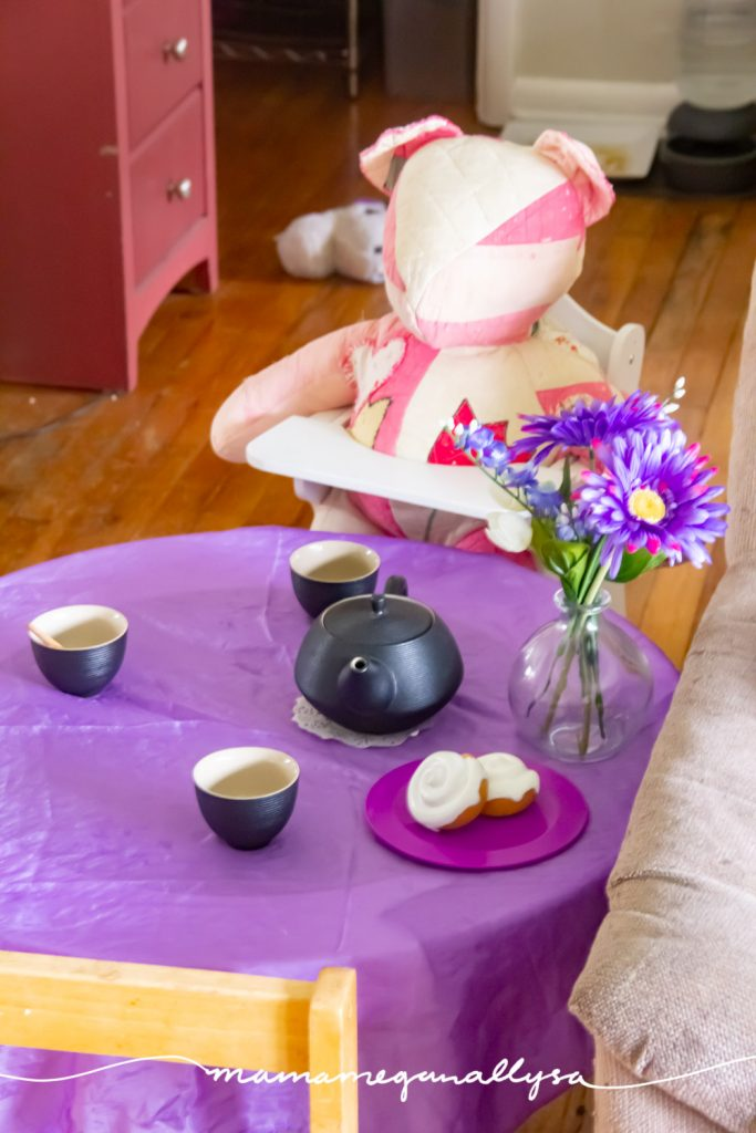 Her Teddy bear was the guest of honor at her tea party