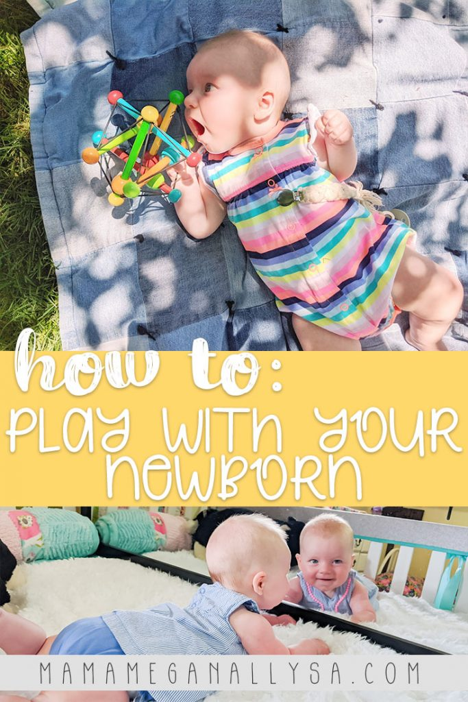 Newborn playtime is something that doesn't really require a ton of thought in the moment as long as you have a few specific items and some ideas to rotate through you are set!