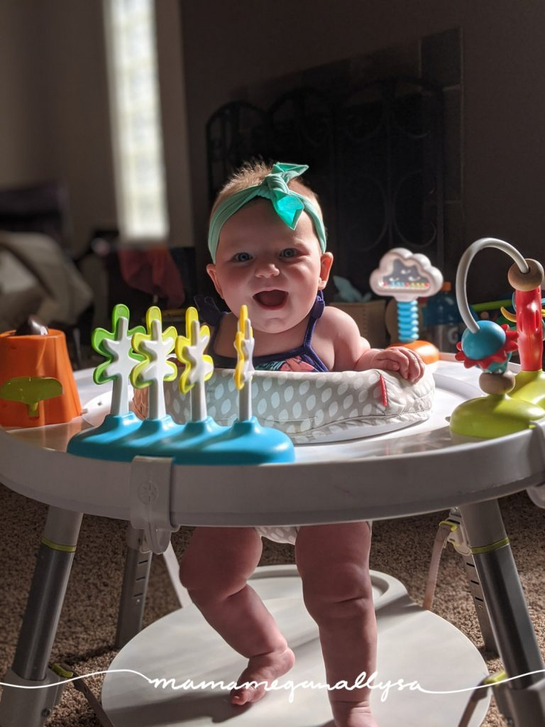 we introduced a play table at about 4 months and it can be a super useful device especially if I am having to multitask!