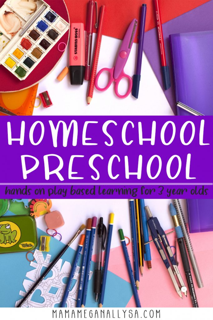 A pin that reads homeschool preschool, hands-on play-based learning for your 3-year-old