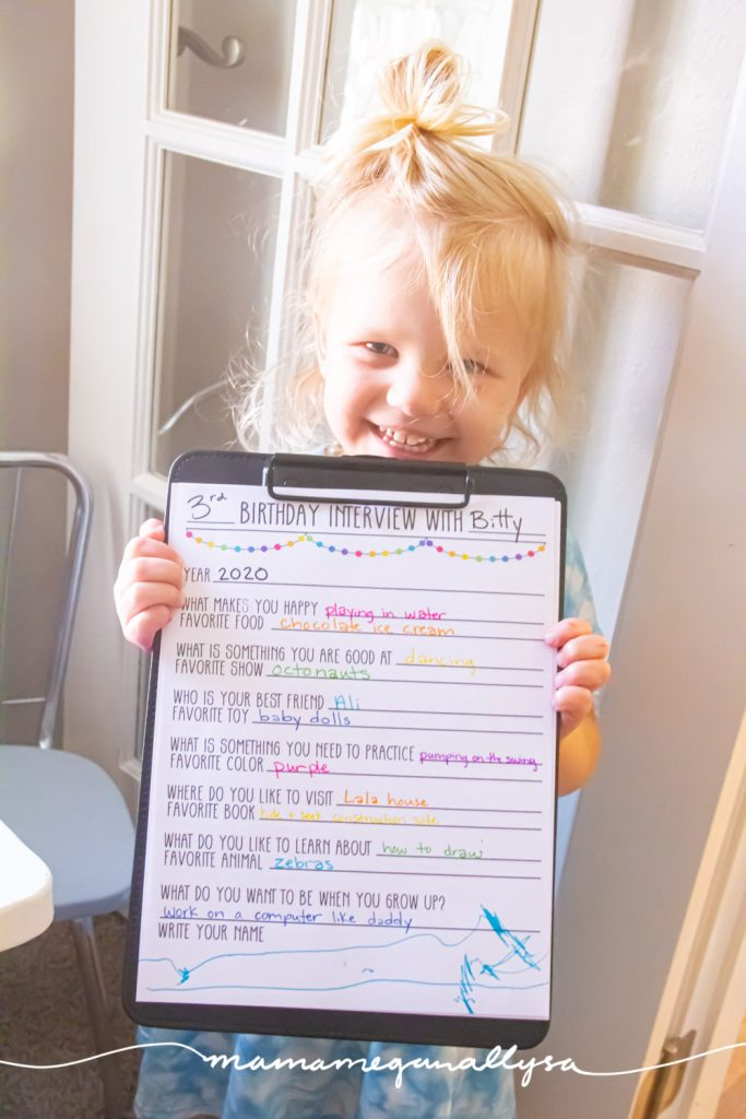 It took a little convincing and some creative rewording to make her answers make sense but her birthday interview does a great job of documenting who she is and what she likes!