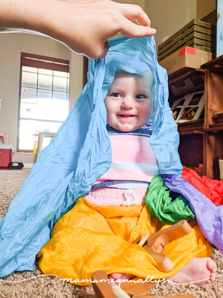 peek a boo is a classic baby activity. The addition of the silks make it a great sensory experience too!