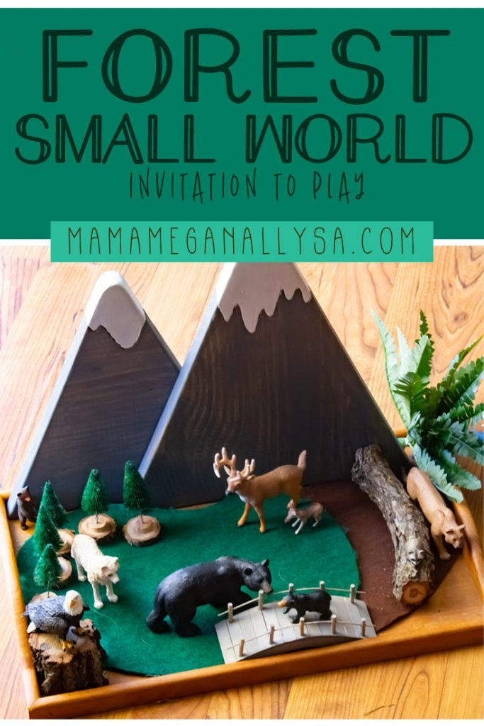 A great invitation to play for your toddler is to set up a little small world for their animals to explore. Our Forest small world has felt mats and wooden mountains. From there its just some loose parts and fake plants that are free to move around as she gets creative!