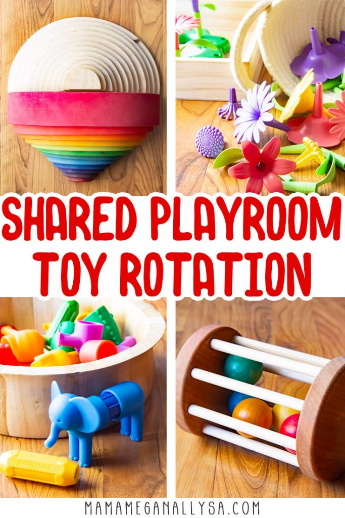 a pin that says shared playroom toy rotation. it shows four pictures of toys