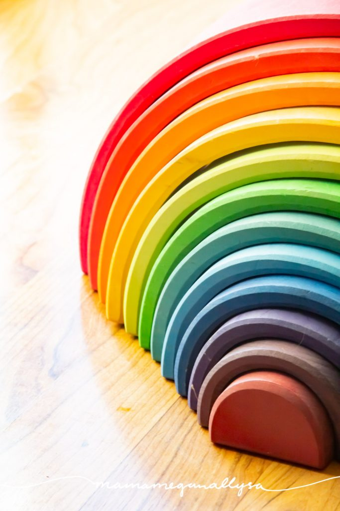 a rainbow is a beautiful addition to any shared playroom, even if you don't play with it everyday.