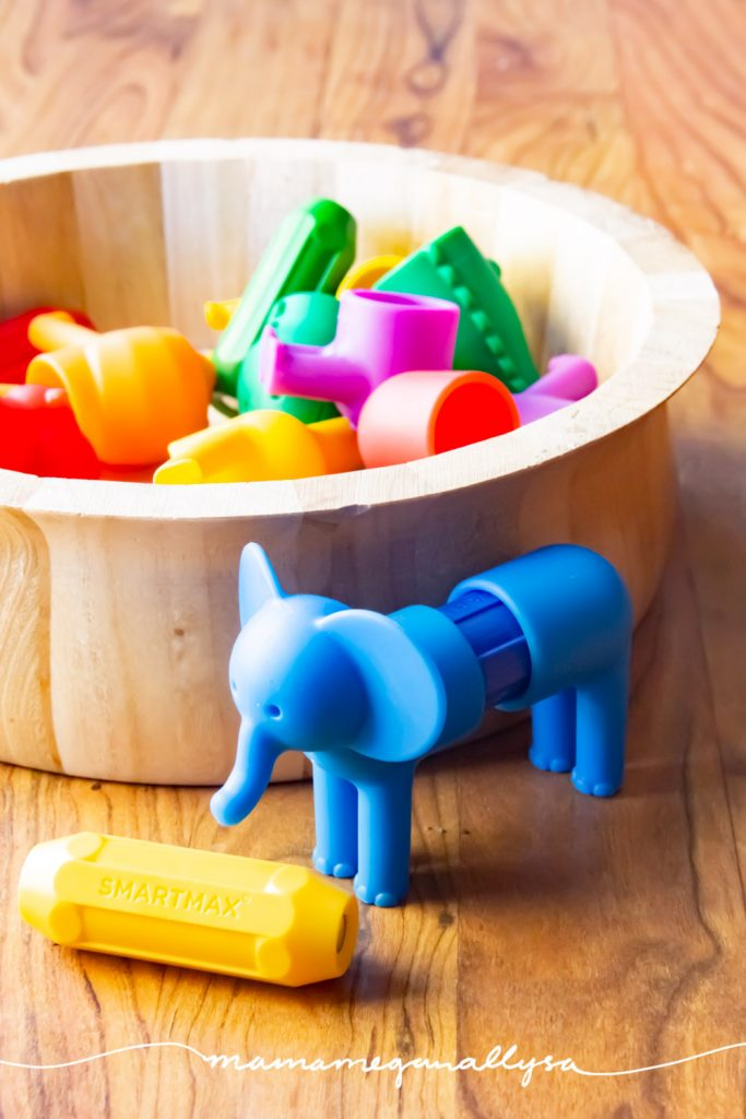 smartmax magnetic animals are a fun fine motor toy as well as a matching toy and are perfectly safe to have around the baby thus making them perfect for our shared playroom