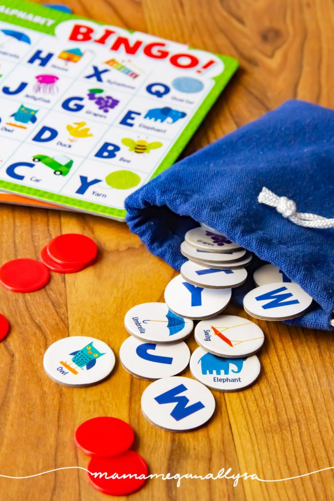 ABC bingo can be tailored t o your toddlers skill level easily and makes for a great learning game