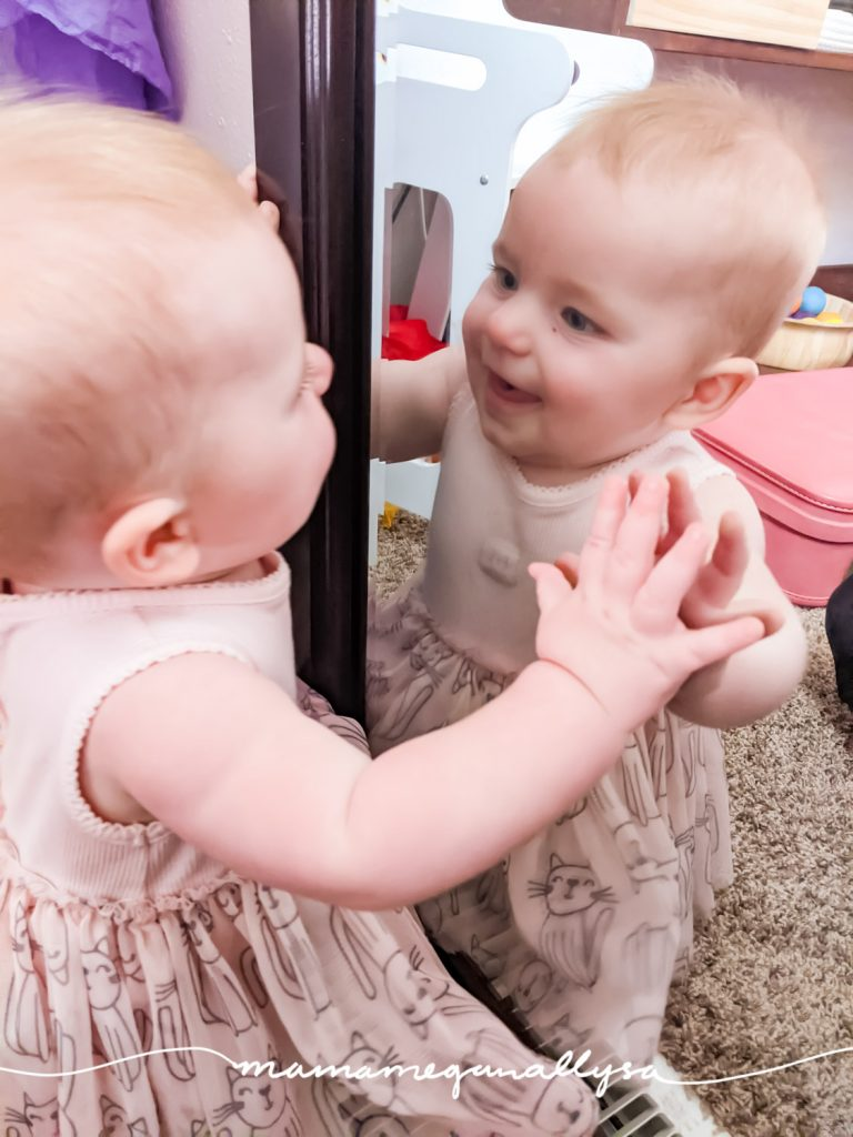 There is nothing better in this world than watching your child discover something new. Today we discovered the baby in the mirror.