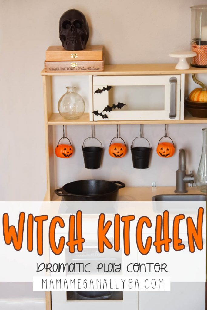 A play kitchen is a must-have in any shared playroom, but sometimes they grow a little stale. Enter The Witch's Kitchen fully stocked for plenty of potion brewing! This Invitation to play has been the biggest hit and I highly recommend it!