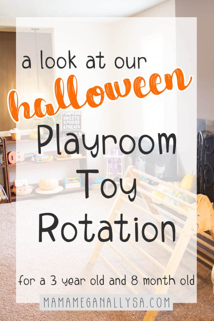 Step inside our shared living room playroom where an 8-month-old baby and 3-year-old toddler play and discover every day. Our Halloween toy rotation added a little extra fun and magic to our October this year!