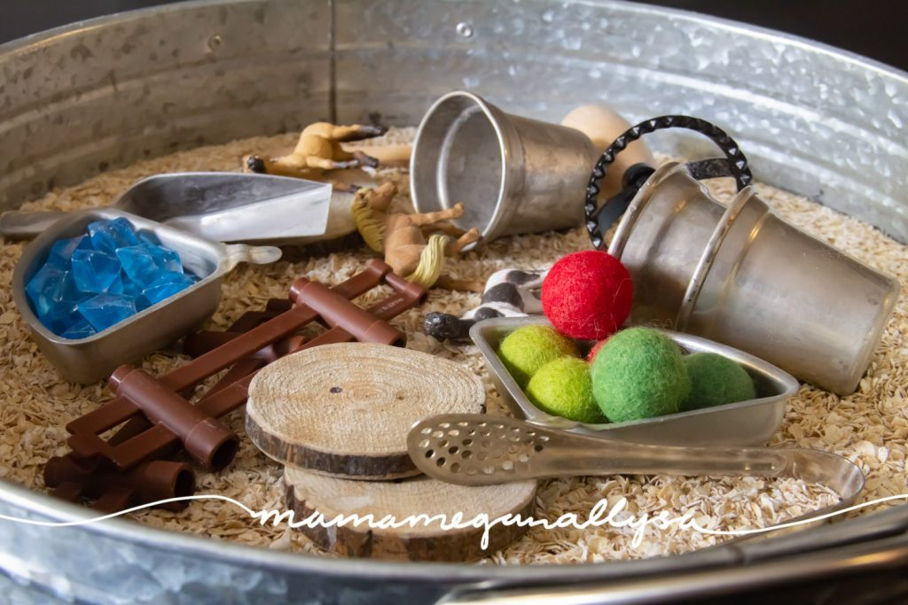 I like to make sure that any sensory bin I create has a base, obviously, some tools for scooping/pouring and grabbing. Some loose parts for creativity and some figures or animals to spark play!