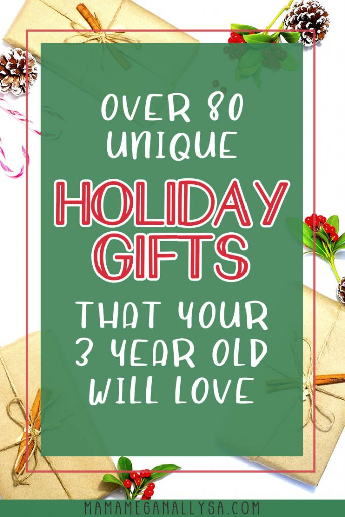 Holiday shopping can get tricky for parents when your often not only shopping for what you are going to gift your kids but often having to find ideas for friends and family to gift as well. my 3 year old gift guide is sure to give you at least a couple good ideas to pass on to grandma and keep everybody happy!