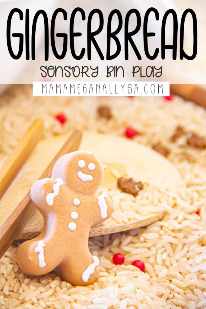 a pin that says gingerbread sensory bin play. it shoes a closeup of a gingerbread man cnady