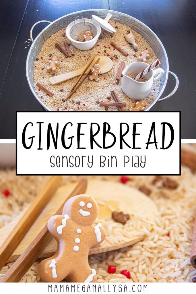 a pin with two images that show a gingerbread sensory bin. One image is an overview showing the tray with the rice, cinnamon sticks and sensory bin tools the other is a close-up of a gingerbread man candy.