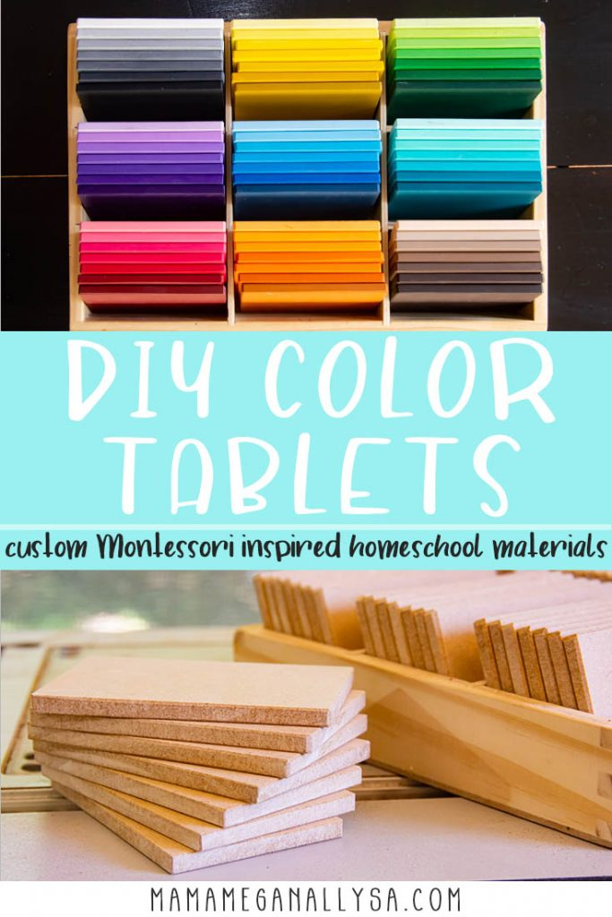 A pin images that reads DIY Color Tablets custom Montessori inspired homeschool materials with two image one showing a completed set of rainbow color tiles and the other showing what the tiles looked like before paint