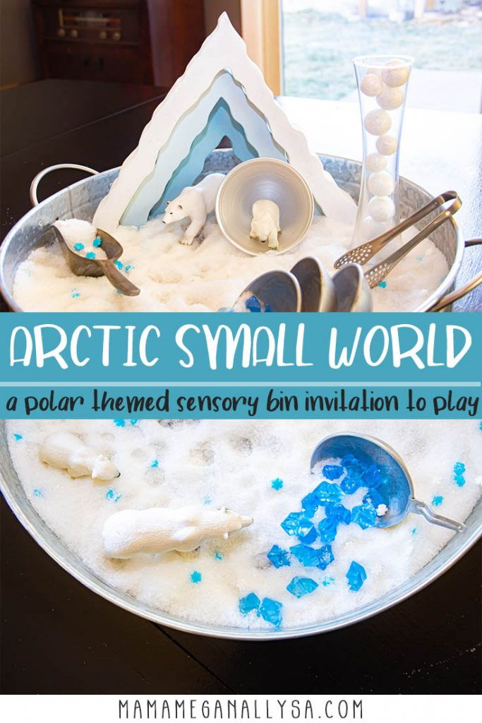 "a pin with text that reads arctic small world a polar themed sensory bin invitation to play. There are two pictures one is an overhead shot of the polar bears standing in the ""snow"" and the blue crystals. the other image is of the sensory bin with all the tools and manipulatives displayed."