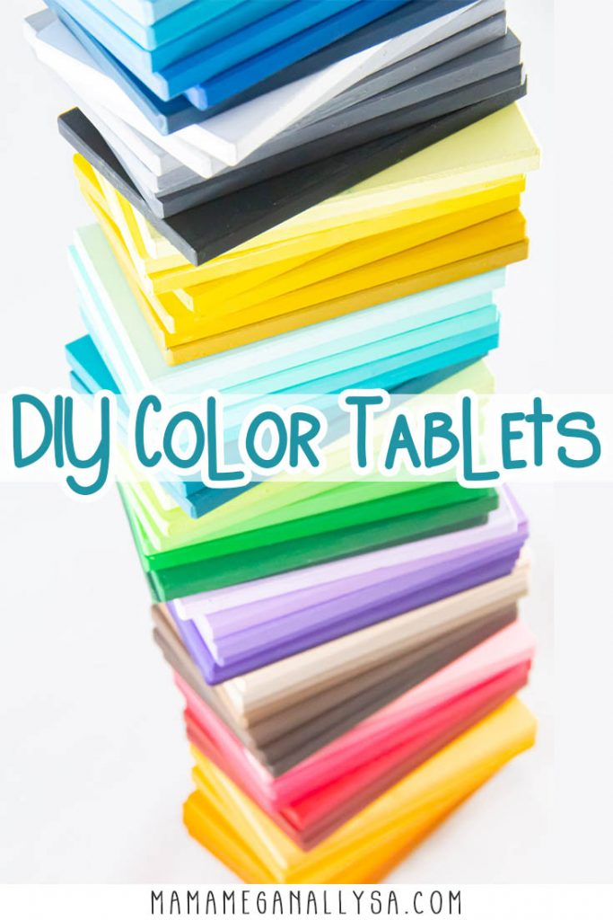 a pin that shows a tower of color tablets all stack on top of each other with the words DIY Color Tablets across the middle