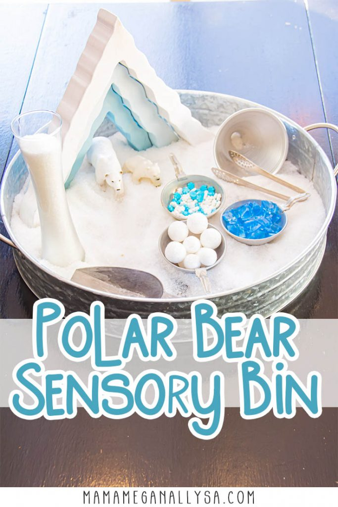 a pin with text that reads polar bear sensory bin with an image of a tray filled with Epsom salt, a scoop and tongs, a tall glass vase, a wooden ice cave and two polar bears