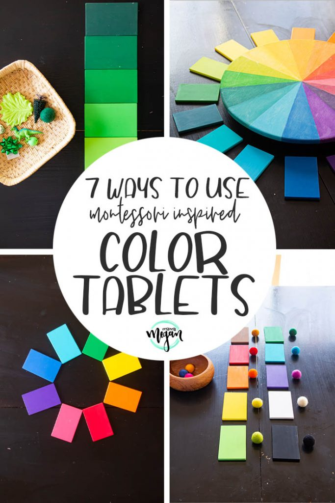 A pin image that reads 7 ways to use Montessori inspired color tablets with four images being that show different activities with color tablets