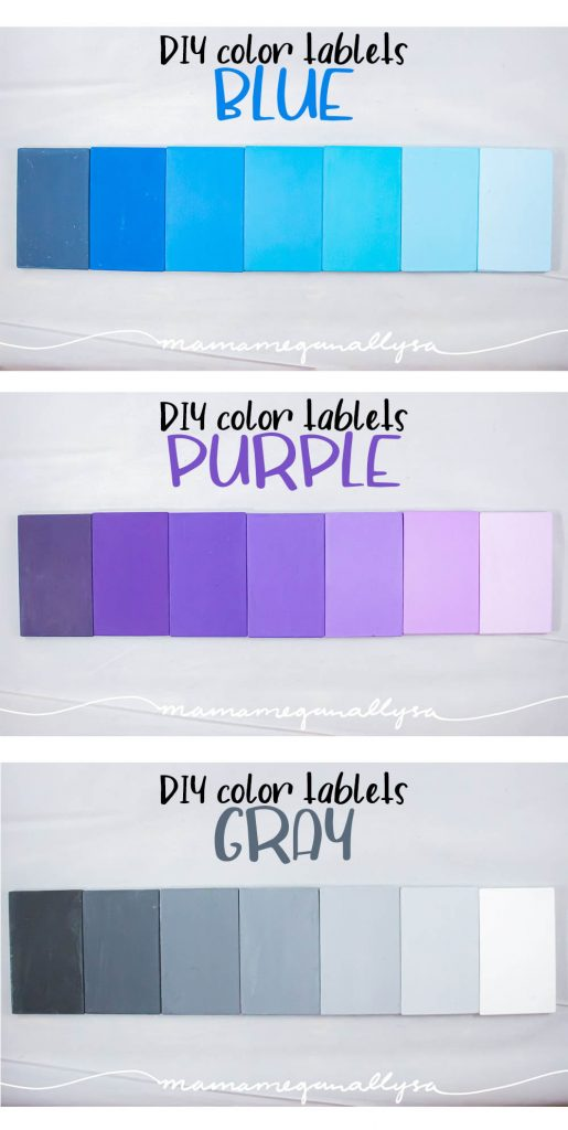 Blue, Purple, and Gray DIY Montessori color tablets arranged in a gradient from dark to light