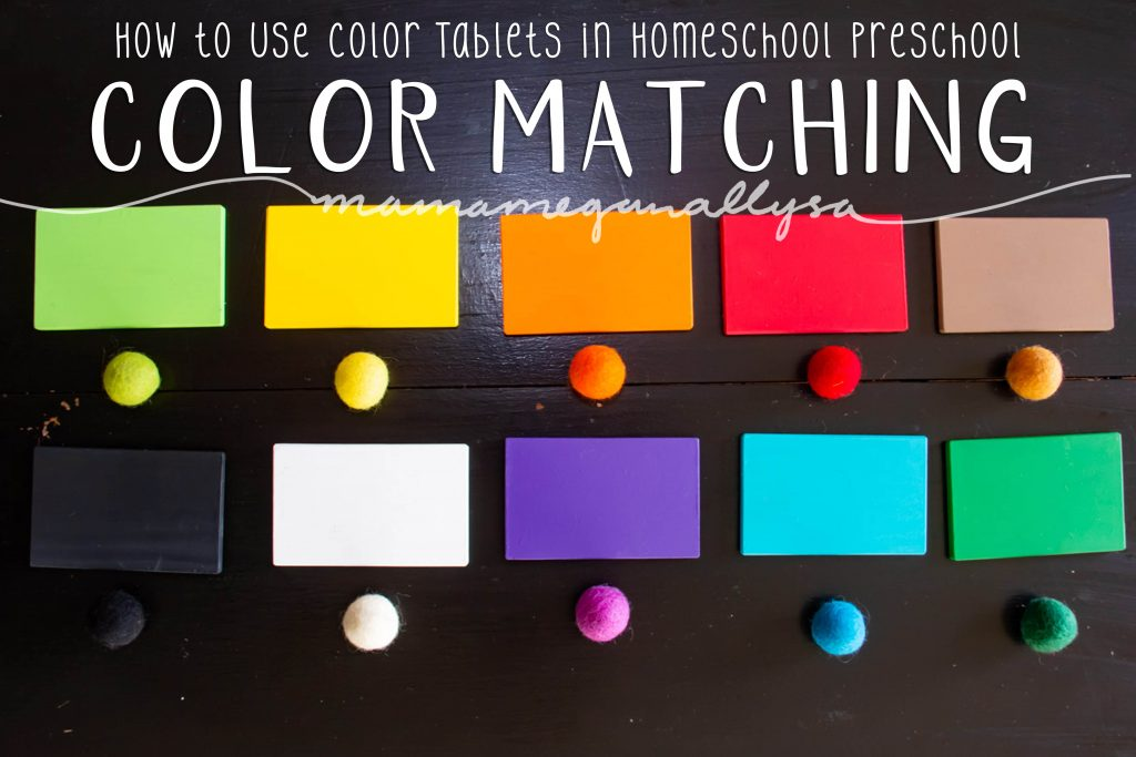 A pin image that reads how to use color tablets in homeschool preschool - Color Matching that shows your basic colors  and a matching wool ball for each laid out on a table