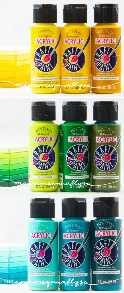 yellow, green and aqua paint bottles, with each color showing three shades. A light, medium and dark