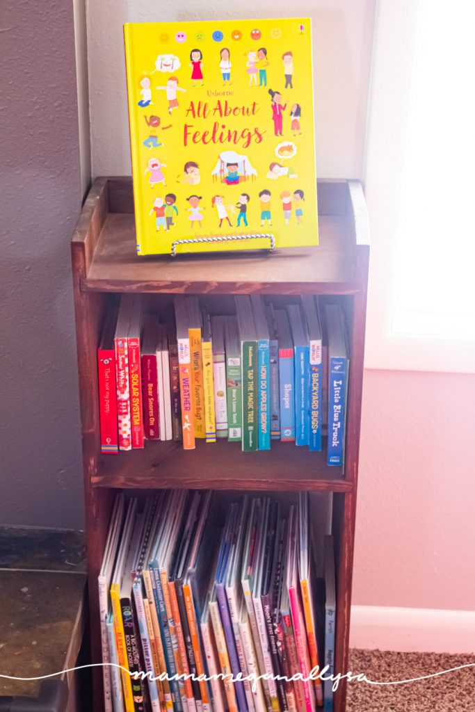 an overview of our DIY wooden books shelf