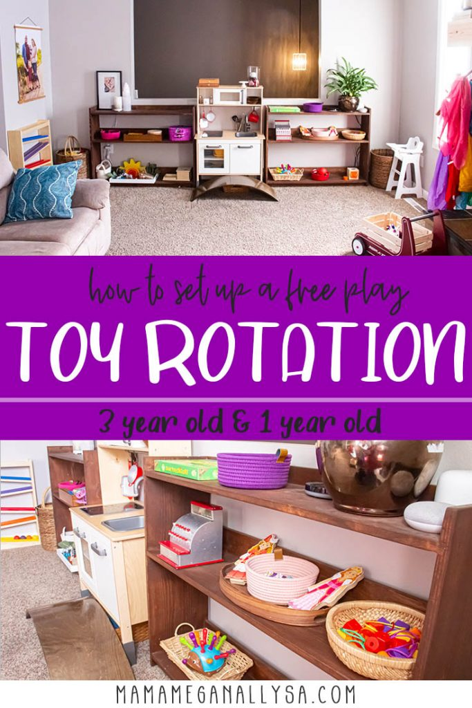a pin image that says how to set up a free play toy rotation 3 year old and 1 year old