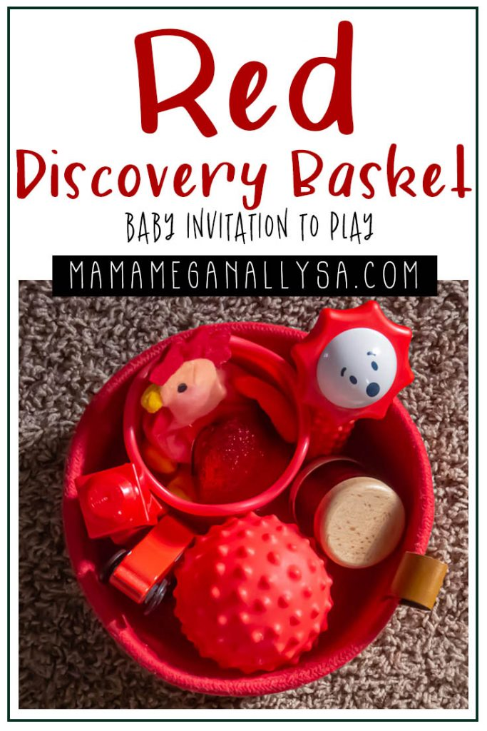 a pin images that says red discovery basket baby invitation to play with an image of a red basket filled with a random selection of red baby toys