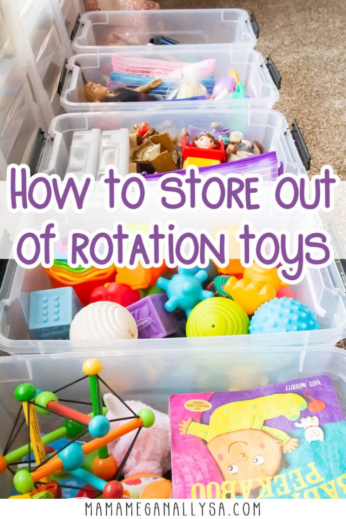 a pin images that reas how to store out of rotation toys with an image of plastic bins of toys