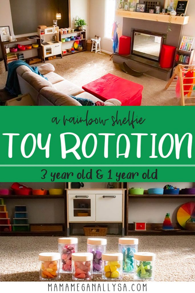 A pin images that reads a rainbow shelfie toy rotation 3 year old and 1 year old with an image of our living room playroom and our loose parts storage jars