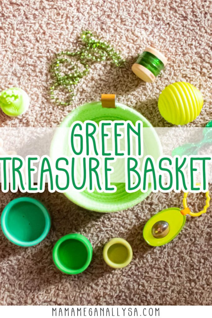 A pin images that reads green treasure basket with a with an image of green toys around a green rope basket