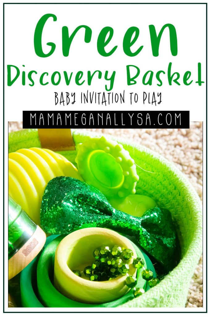 A pin images that reads green discovery basket baby invitation tot play with a close up of the green toys