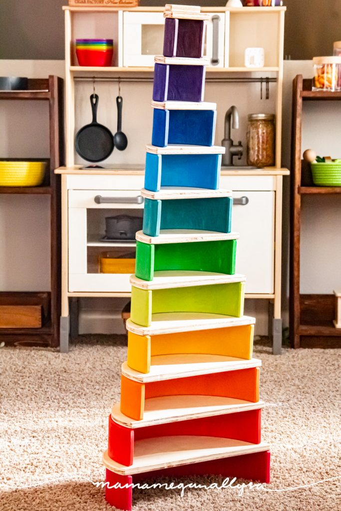 our Grimms rainbow and DIY semi-circles   stacked into a tower