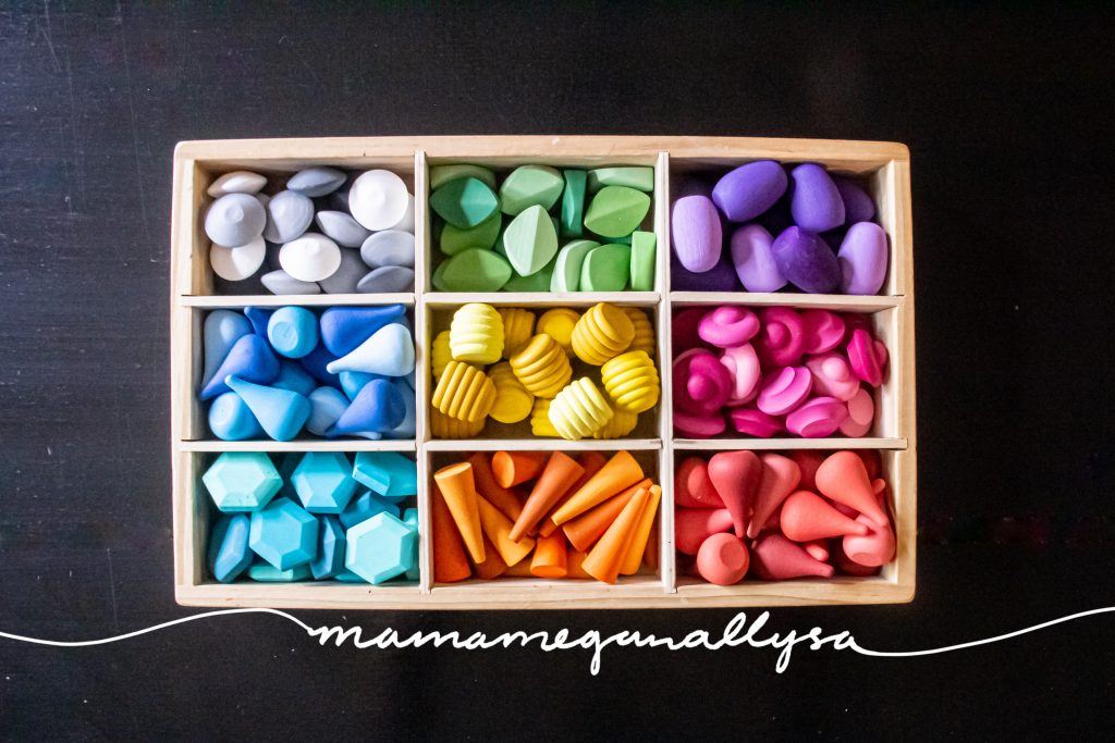 a top down shot of a divided tray with 9 sections filled with a rainbow of wooden loose parts sorted by their colors