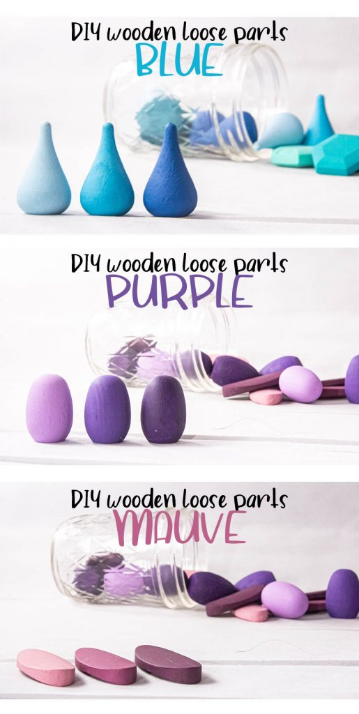 a collage with three images. Each shows a close-up of the painted wooden loose parts, displaying the three tones of paint for each color. Blue Drops, Purple eggs, and Mauve petals