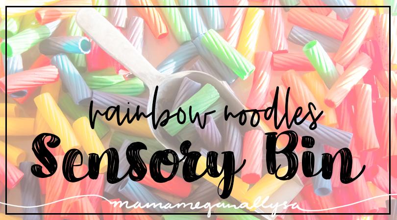Rainbow noodle sensory bin