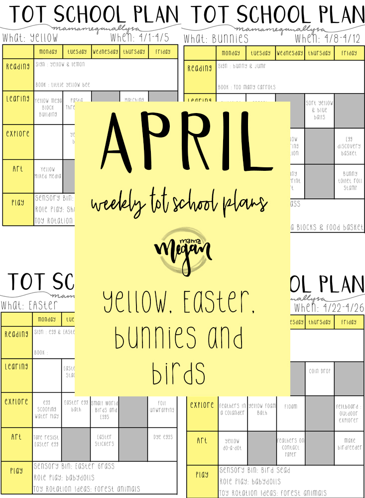 April 2019 Tot schooling plans for a 18 month old toddler covering yellow, Easter and birds