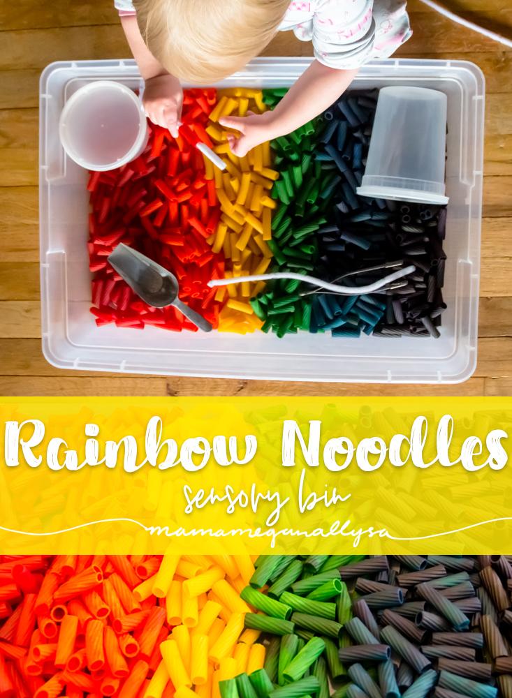 title image for DIY rainbow noodles sensory bin
