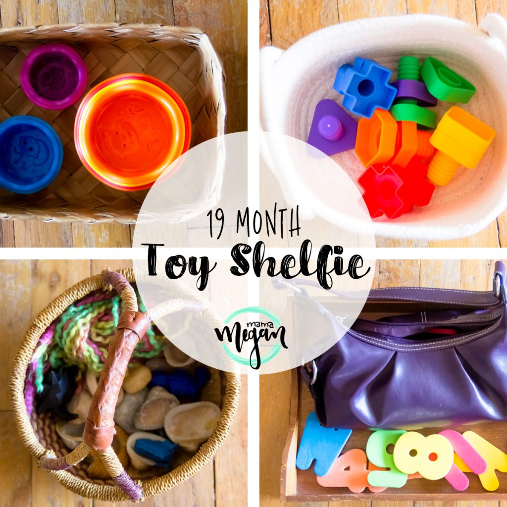 a title card for our toy rotation for mid March showing stacking cups, nuts and bolts, a treasure basket with seashells, and foam letters with a purple purse