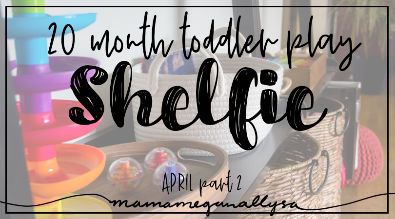 title card for toddler play shelfie
